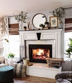 late winter fireplace mantel decor with roaring fire at TidyMom.net via @tidymom