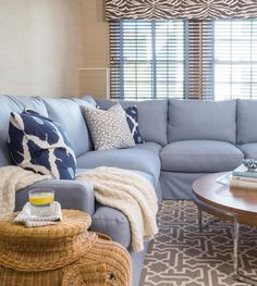 Lee sectional - with light blue fabric Blue Sectional, Window Toppers, Custom Valances, Lee Industries, Blue Fabric, Home Living Room, Perfect Place, Beach House, Couch