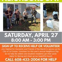 Causes event in La Crosse, WI by Habitat for Humanity-La Crosse Area and Friends of the La Crosse Marsh on Saturday, April 27 2019 with 100 people. Habitat For Humanity, Facebook Sign Up, Habitats, Join, Yard, Community, Website, Spring, Patio
