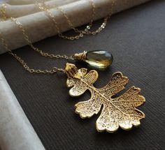 Fall wedding, Gold Leaf & Topaz Necklace, November birthstone, Lariat necklace, Bridesmaid Gift, y-drop, Real Oak leaf, Autumn Wedding. $41.50, via Etsy.