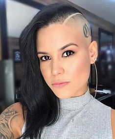 Last upload here. Please go through all images on this account you may find some you've never seen before. Shaved Hair Cuts, Half Shaved Hair, Shaved Nape, Shaved Sides, Kiss Beauty, Hair Beauty, Shoulder Length Black Hair, Buzz Cut Women, Buzzed Hair