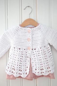 Virkad babykofta   Crochet Toddler, Crochet Girls, Diy Crochet, Knitting For Kids, Baby Knitting Patterns, Crochet Baby Cardigan, Baby Kind, Crochet Designs, Crochet Clothes
