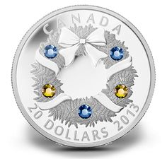 Fine Silver Coin - Holiday Wreath - Mintage: Features five Swarovski elements in two colours: 3 blue and 2 gold! Gold And Silver Coins, Silver Bars, Canadian Coins, Mint Coins, Silver Bullion, Proof Coins, Rare Coins, Coin Collecting, Holiday Wreaths