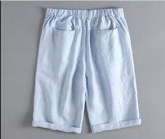 Men's Shorts Linen Luxury High Quality Casual - Light Blue - Shorts