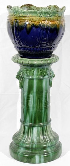 majolica pottery | 030151: MAJOLICA POTTERY JARDINIÈRE + STAND, 19TH C. : Lot 30151