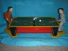 Vintage billiards tin wind-up. & Vintage Miniature Pool Table Set Antique Billiards Old   Pool table ...