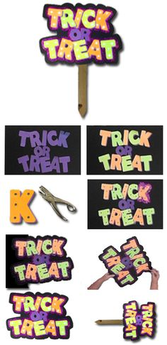 Make a Trick or Treat Sign using quick Letters, Lights, and Glitter!