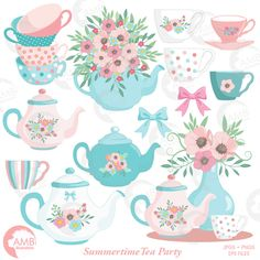 Tea Time Clipart, Teapot, Summer Time Tea Party Clipart, Floral Tea Time Clipart, Tea Time Roses Clipart for Scrapbooking, AMB-1356 by AMBillustrations on Etsy https://www.etsy.com/uk/listing/384427984/tea-time-clipart-teapot-summer-time-tea