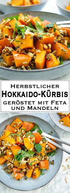 Rezept für Hokkaido-Kürbis geröstet mit Feta, Kräuter, Mandeln und Zitrone. Die Kombination ist einfach OBERLECKER! Einfache Gesunde Rezepte - Elle Republic