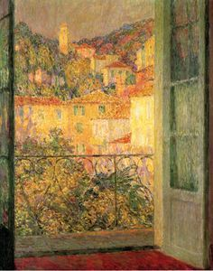 "Henri Le Sidaner (French, 1862-1939) - ""La Fenêtre du Midi, Villefranche-sur-Mer"" (The south window, Villefranche-sur-Mer)"