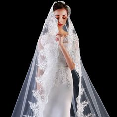 Mantilla Veil, Lace Veils, Veil Hairstyles, Wedding Hairstyles With Veil, Formal Dresses For Weddings, Dream Wedding Dresses, Simple Elegant Wedding Dress, Wedding Veil, Bride Veil