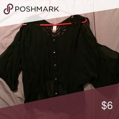 Black sheer casual shirt Black transparent shirt with cut outs on sleeves (upper arm and shoulders) with gold buttons. No Boundaries Tops Button Down Shirts