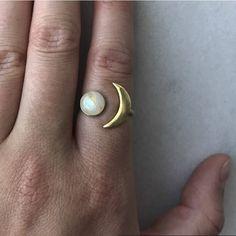 Universe Cosmos Ring ~ Moon Stone Ring ~ Gemstone Jewelry