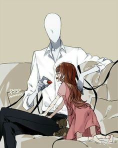 Slenderman, strawberry, cute, Sally, text; Creepypasta