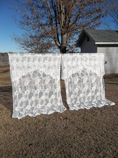 Vintage Lace Curtains Window Treatment French by misshettie, $58.00