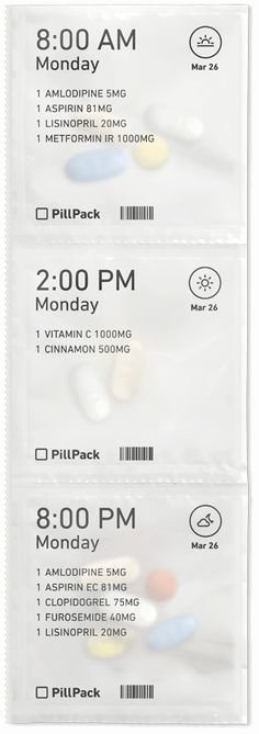 PillPack is a full-service pharmacy that delivers a better, simpler experience. Pharmacy Design, Medical Design, Beauty Packaging, Brand Packaging, Product Packaging, Medicine Packaging, Design Language, Packaging Design Inspiration, Design Thinking