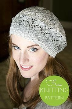 "Driftone Lace Beret Free Knitting Pattern  Hat Measures: 18"" brim x 24"" circumference, after blocking    2 balls Plymouth Driftone Yarn, shown in color 02 Grey Tone  Size US 3 and 5 circular 24"" needles  Size US 5 double pointed needles  Gauge: 24 sts, 32 rows= 4"" in st st and Horseshoe Lace on US Size 5 (3.75mm) after blocking"