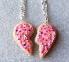 best friends sugar cookie half heart necklaces
