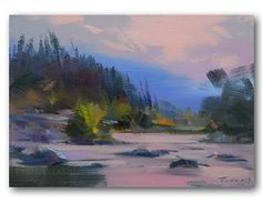 Mountains River Landscape Painting  Small Oil Landscape by Pysar, $185.00