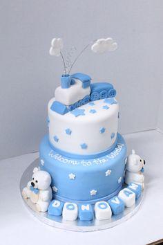 train themed baby shower cake. Modeling chocolate figures  shellscakes.com