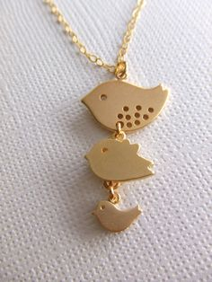 Spring Fashion Jewelry Gift for Her Three Birds by LycheeKiss, $26.00