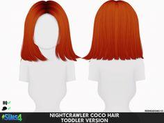 Nightcrawler`s Coco hair retextured kids version - The Sims 4 Catalog The Sims 4 Kids, The Sims 4 Bebes, The Sims 4 Pc, Sims 4 Children, Sims 4 Toddler, Toddler Hair, My Sims, Sims Cc, Hair Kids
