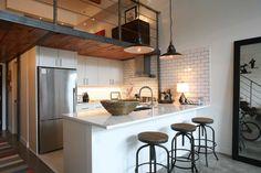 White cabinets with white subway tile, dark grey grout Oliver Simon Design Loft Project - industrial - kitchen - vancouver - by Antique Market Loft Design, Design Studio, Deco Design, Küchen Design, Design Ideas, Attic Design, Design Elements, House Design, Loft Kitchen