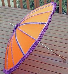 Purple and Safety Orange Parasol Umbrella OOAK Steampunk Lolita | dbvictoria - Accessories on ArtFire