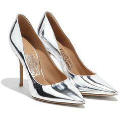 Salvatore Ferragamo Pointy-Toe Pump ($595) ❤ liked on Polyvore featuring shoes, pumps, silver, metallic pumps, pointy toe shoes, metallic pointed toe pumps, pointed-toe pumps and salvatore ferragamo shoes