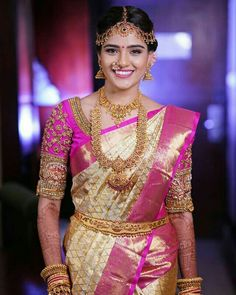 Designer Cream Color Waving Work Soft Silk Saree There are different rumors about the real history of the marriage dress; South Indian Bride Jewellery, Bridal Sarees South Indian, Bridal Silk Saree, Indian Bridal Fashion, Bride Indian, Hindu Bride, Kerala Bride, Bridal Jewellery, Indian Wedding Sarees