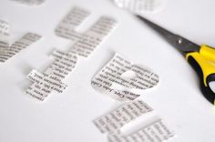 How To: Make Typographic Gift Wrap, this is brilliant, may take some time but looks so great. Christmas Gift Wrapping, Diy Christmas Gifts, Wrapping Gifts, Wrapping Ideas, Homemade Gifts, Diy Gifts, Newspaper Letters, Book Projects, Name Cards