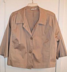 Cato Woman Plus Size 26 Khaki Jacket  3/4 Sleeves Career   #CatoWoman #Short #Casual