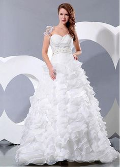 DIGNIFIED ORGANZA SATIN BALL GOWN SWEETHEART NECKLINE NATURAL WAISTLINE WEDDING DRESS FORMAL PROM EVENING PARTY GOWN