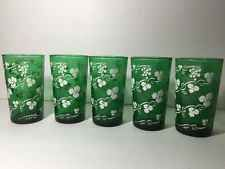 Five Forest Green Hocking Tumblers 11ounces White Grapevines Vintage