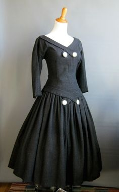 1950's Angora & Wool Dropped Waist Dress