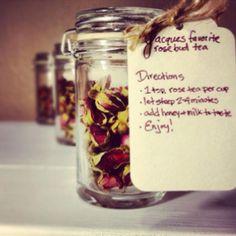 Rose tea bridal shower favors.