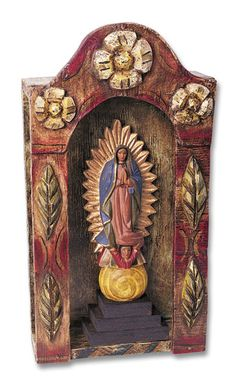 La Virgen de Guadalupe~Our Lady Of Guadalupe & Wooden Shrine Set - Religious Goods and Folk Art - For the Home Southwest Indian Foundation Religious Icons, Religious Art, Madonna, Frida Art, Home Altar, Spiritus, Assemblage Art, Mexican Folk Art, Sacred Art