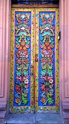 Another intricately carved and painted wooden door in San Miguel de Allende, Mexico ., Another intricately carved and painted wooden door in San Miguel de Allende, Mexico. Photo by rebeccawoodland on Cool Doors, Unique Doors, Knobs And Knockers, Door Knobs, Entrance Doors, Doorway, Front Doors, Porte Cochere, When One Door Closes