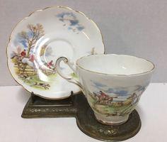 Regency-Bone-China-Vintage-Tea-Cup-and-Saucer-England-Fox-Hunt-Dog-Horses