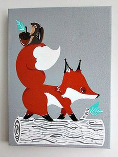 Hey, I found this really awesome Etsy listing at https://www.etsy.com/listing/168888420/woodland-fox-original-painting-for-grey