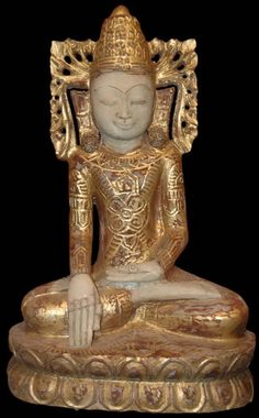 Burmese Alabaster Shwe Bo Buddha Statue dressed in royal regalia, rings and earings