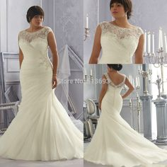New Arrival Scoop Neckline Beads and Crystals Organza Chapel Train Custom Made Fancy  Latest Plus Size Wedding Dress 2014