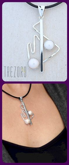 Necklace      Sterling Silver      Natural Pearl      Geometry Collection      Worldwide shipping    