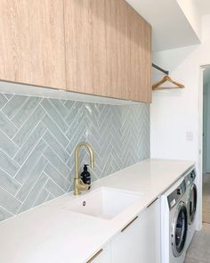 House Extension Design, Extension Designs, House Design, Laundry Room Design, Kitchen Design, Russell House, Laundry Room Inspiration, Blue Tiles, Green Tiles