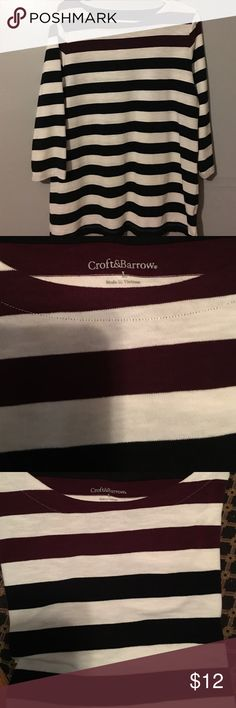 Croft and Barrow 3/4 sleeve striped shirt. Large. Scoop neck top. Navy and maroon stripe. Worn once. Like new!worn once for about 3 hours. Very pretty top, can wear casual or dress it up! croft & barrow Tops Blouses