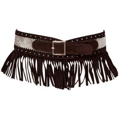 Preowned Yves Saint Laurent Pony Skin & Suede Fringed Belt ($400) ❤ liked on Polyvore featuring accessories, belts, multiple, yves saint laurent, fringe belt, flat belt, yves saint laurent belts and brown belt