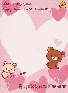 pink Japanese white Rilakkuma bear hearts mini Note Pad San-X - Memo Pads…