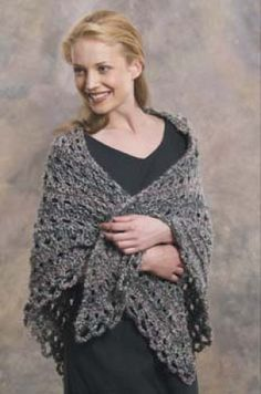 Easy Triangle Shawl in Lion Brand Homespun - Discover more Patterns by Lion Brand at LoveKnitting. The world's largest range of knitting supplies - we stock patterns, yarn, needles and books from all of your favorite brands. Knitted Shawls, Crochet Poncho, Crochet Scarves, Crochet Yarn, Crochet Clothes, Free Baby Patterns, Knitting Patterns Free, Knit Patterns, Free Knitting