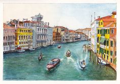 The Grand Canal of Venice on a sunny September afternoon. Pencil, ink and watercolour painting by award-winning Australian artist Dai Wynn on 300 gsm heavy medium surface Arches french cotton paper. 21 cm high by 29.9 cm wide (8.25 inches by 11.75 inches) approximately - A4 standard size. To check on the availability of the original for purchase, please visit http://www.daiwynn.com/artist/grand-canal-venezia/