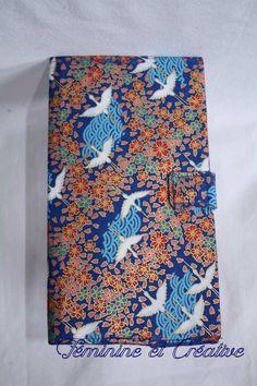 Porte chéquier en tissu japonais motif grues et fleurs coton format  portefeuille   Porte-monnaie 00ec39a5767
